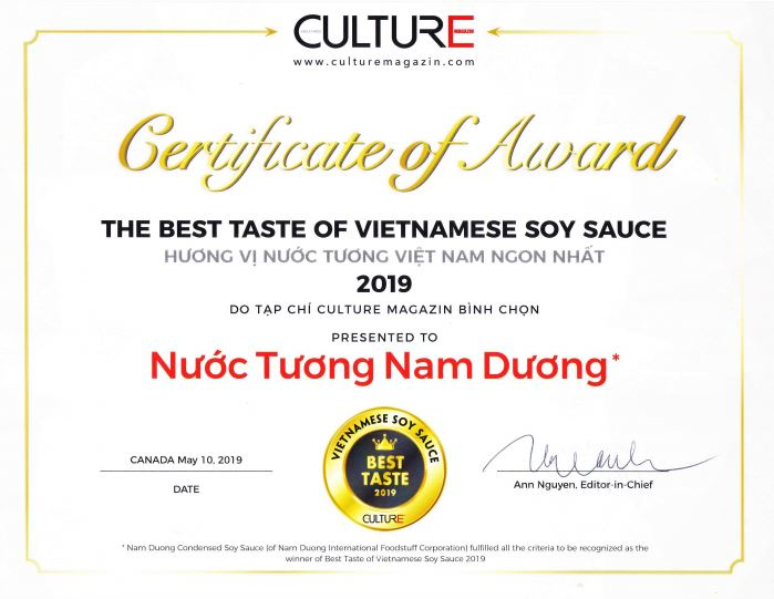 Nam Dương được vinh danh là 'Hương vị nước tương Việt Nam ngon nhất năm 2019'